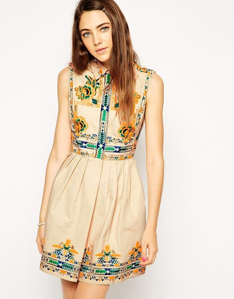 Asos Skater dress with embroidery in cream - Skater dress by ASOS Collection 100% Cotton Breathable...