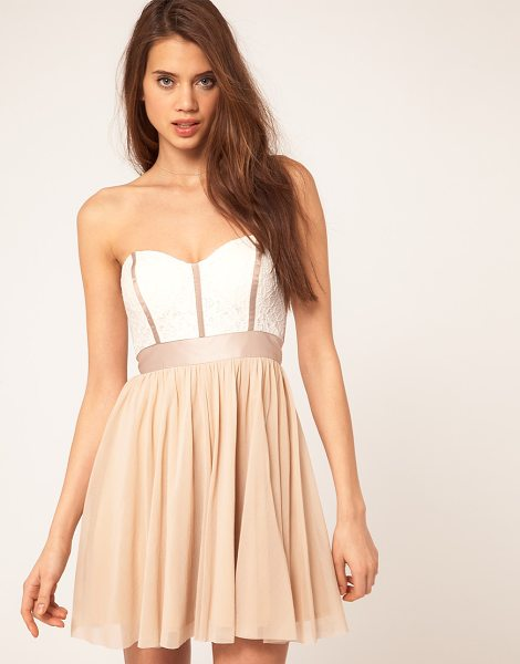 Asos Skater dress with lace bustier in cream - Lace bustier skater dress by ASOS Collection. Featuring...