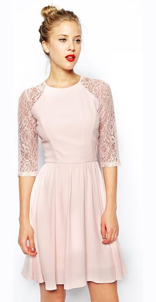 ASOS Skater dress with lace sleeves - Machine Wash According To Instructions On Care Label....