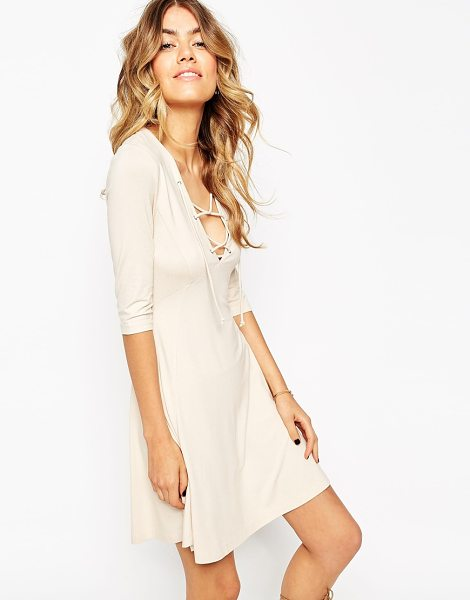 Asos Skater dress with lace up front in cream - Skater dress by ASOS Collection Smooth stretch jersey...