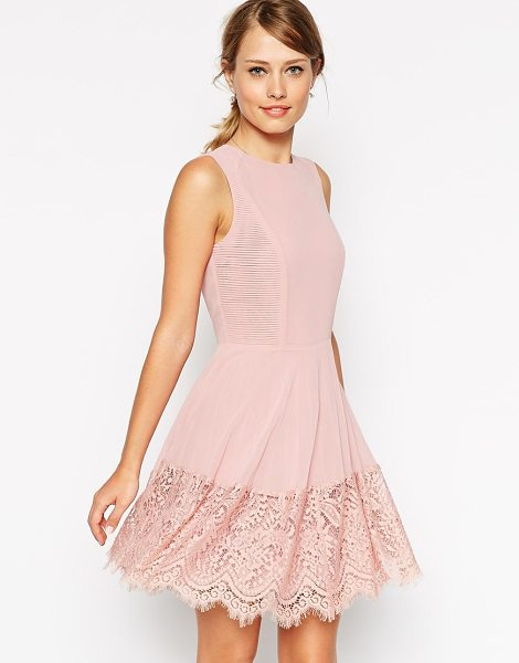 ASOS Skater dress with micro pleat and lace detail in rose pink - Dress by ASOS Collection Lined chiffon Crew neckline...