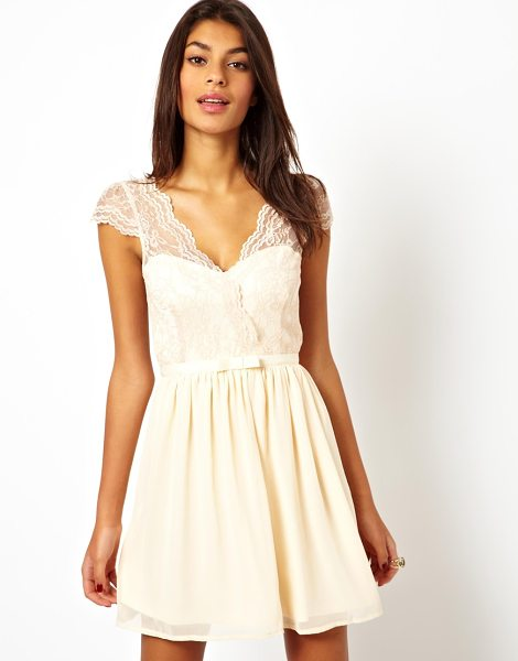 Asos Skater dress with scalloped wrap in nude - Skater dress by ASOS Collection Made from an easy-care...