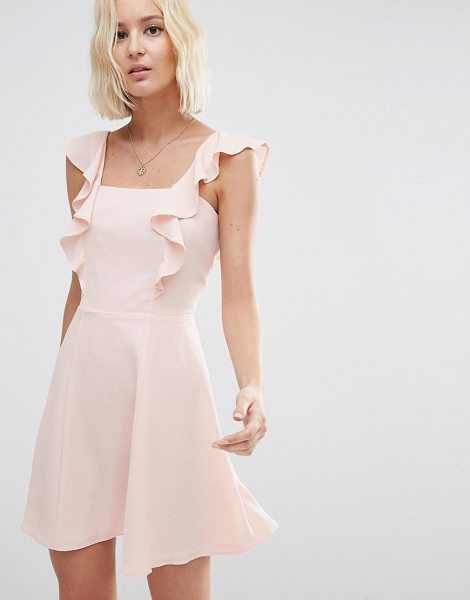 Asos Skater Dress with Square Neck and Ruffle Detail in pink - Skater dress by ASOS Collection, Lightweight woven...