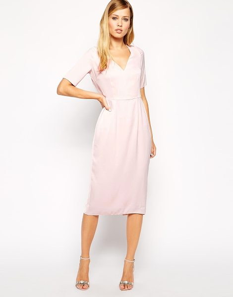 Asos Sleeved Draped Back Midi Dress in pink - Evening dress by ASOS Collection, Lightweight lightly...