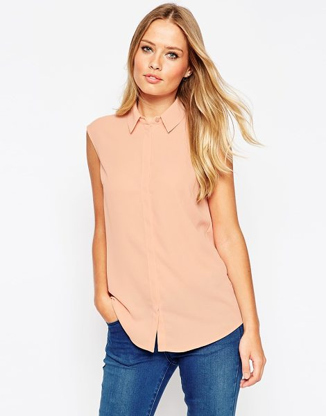 Asos Sleeveless blouse in blush - Blouse by ASOS Collection Lightweight chiffon Semi-sheer...