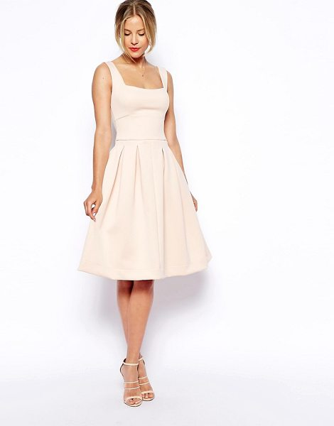 Asos Sleeveless debutante midi dress in nude - Midi dress by ASOS Collection Silky-feel, lightly...
