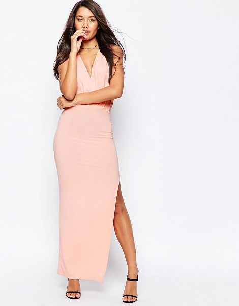 Asos Sleeveless Drape Maxi Dress in pink - Maxi dress by ASOS Collection, Soft-touch, stretch...