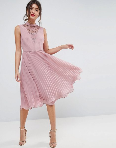ASOS DESIGN asos sleeveless lace insert pleated midi dress in mink - Dress by ASOS Collection, Fully lined, High neck, Lace...