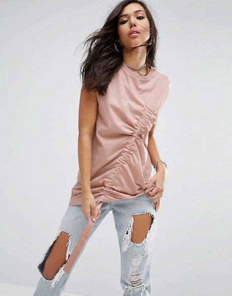 """Asos Sleeveless Oversized T-shirt with Drawstring Detail in stone - """"""""T-shirt by ASOS Collection, Pure cotton jersey, Crew..."""