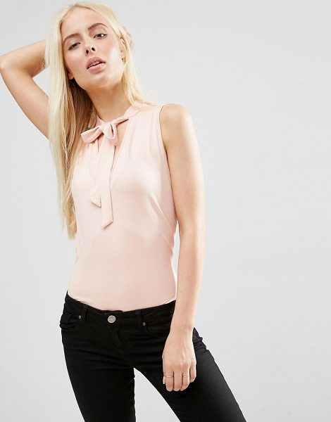 Asos Sleeveless Pussybow Blouse in pink - Blouse by ASOS Collection, Stretch jersey, V-neckline,...
