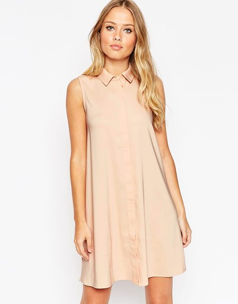 Asos Sleeveless shirt dress in oyster - Dress by ASOS Collection Lightweight fabric Point collar...