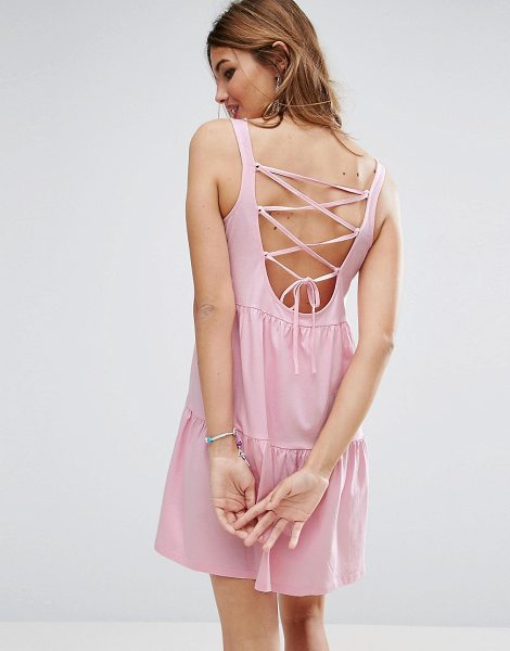 "Asos Sleeveless Smock Sundress With Lace Up Back in bubblegumpink - """"Dress by ASOS Collection, Pure cotton jersey, Scoop..."