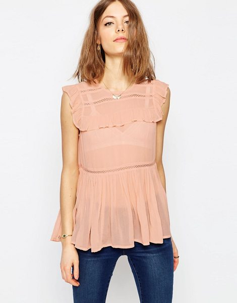 Asos Sleeveless Tiered Ruffle Blouse with Lace Inserts in pink - Blouse by ASOS Collection, Lightweight woven fabric,...
