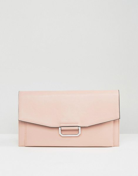 """Asos Slim Ring Detail Clutch Bag in pink - """"""""Clutch bag by ASOS Collection, Faux-leather outer,..."""