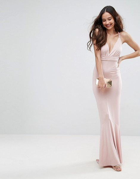 ASOS DESIGN slinky deep plunge fishtail braid strap maxi dress in nude - Maxi dress by ASOS Collection, Slinky stretch fabric,...