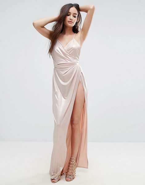"""ASOS Slinky Lame Wrap Maxi Dress in pink - """"""""Maxi dress by ASOS Collection, Slinky stretch fabric,..."""