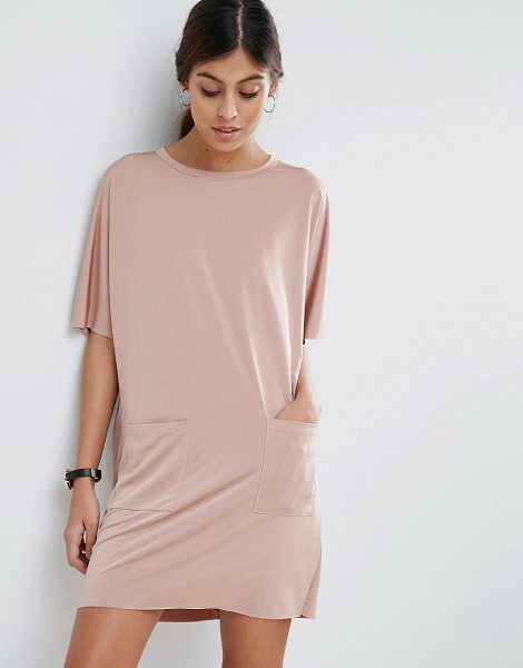 "Asos Slinky T-Shirt Dress With Pockets in pink - """"Dress by ASOS Collection, Soft-touch slinky jersey,..."