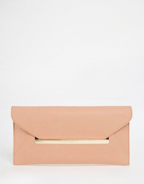Asos Slot Through Bar Clutch Bag in pink - Clutch bag by ASOS Collection, Smooth leather-look...