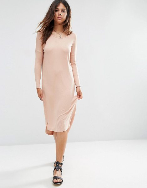 Asos Slouch Oversize T-Shirt Dress in Baby Rib in pink - Dress by ASOS Collection, Ribbed jersey, Round neckline,...