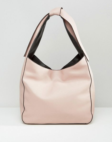 Asos Slouch Shoulder Bag With Tie Detail in pink - Bag by ASOS Collection, Faux-leather outer, Contrast...