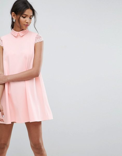 ASOS DESIGN ASOS Smock Dress with Pleats And Lace Details in nude - Dress by ASOS Collection, Lightly textured fabric,...
