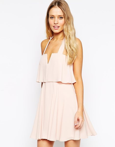 Asos Soft notch skater with wide straps in blush - Dress by ASOS Collection Woven fabric Halterneck design...