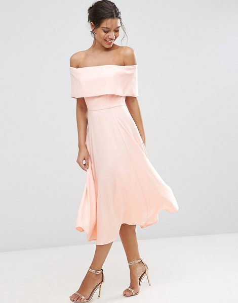 Asos Soft Off The Shoulder Bardot Midi Prom Dress in pink - Midi dress by ASOS Collection, Woven fabric, Fully...