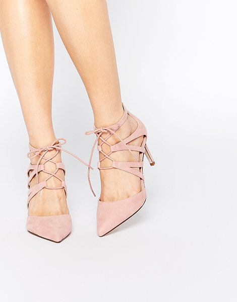 Asos Solar lace up pointed heels in pale pink - Heels by ASOS Collection Suede-look upper Point toe...