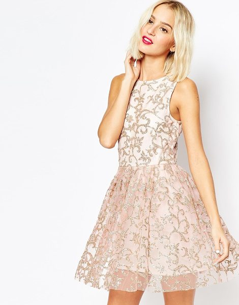 Asos Sparkle mesh glitter mini prom dress in nude - Party dress by ASOS Collection Woven fabric Mesh overlay...