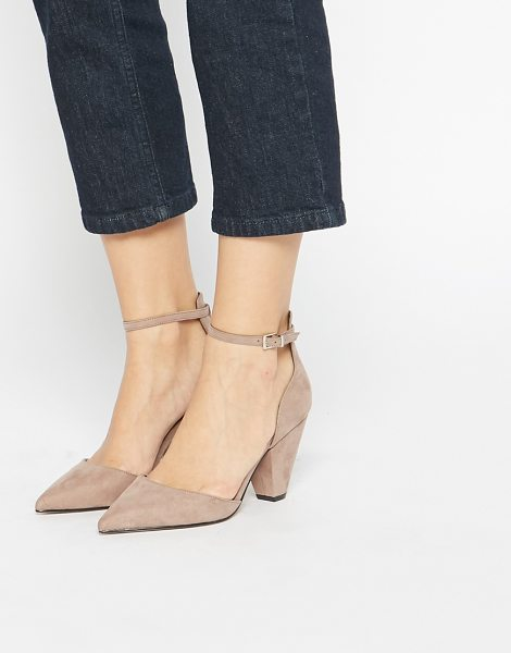 Asos Speechless pointed heels in mink - Heels by ASOS Collection Suede-style upper Pin buckle...