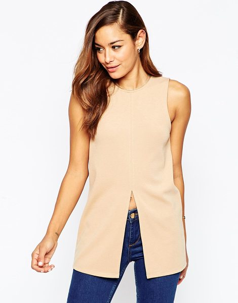 Asos Split Front Longline Top in tan - T-shirt by ASOS Collection, Knitted ponte fabric, Round...