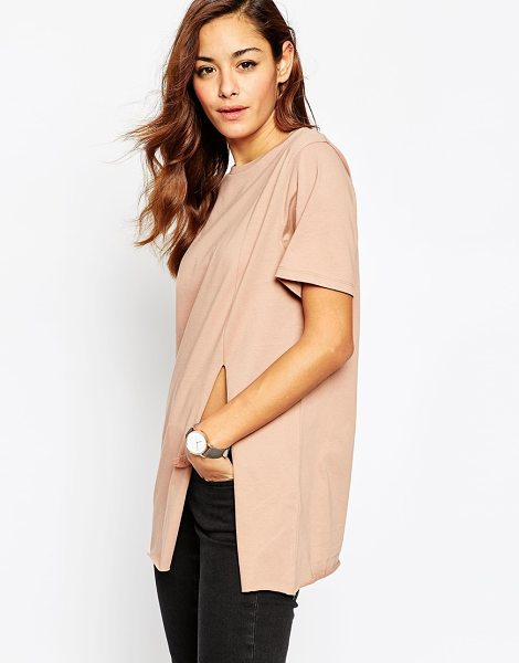 ASOS Split Front T-Shirt in pink - T-shirt by ASOS Collection, Jersey fabric, Crew neck,...
