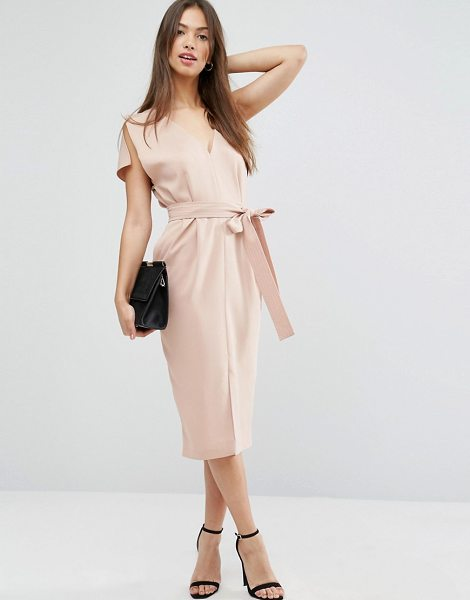 "Asos Split Sleeve Dress with Plunge Neck and Tie Belt in pink - """"Dress by ASOS Collection, Stretch woven fabric, Plunge..."