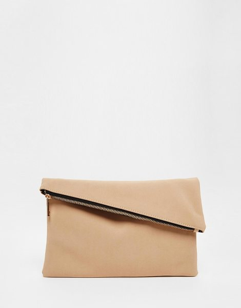Asos Square clutch bag with slanted zip top in nude - Clutch bag by ASOS Collection Faux-leather outer...
