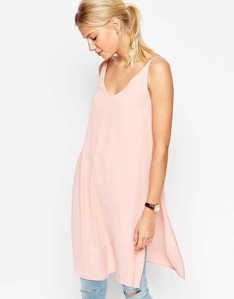 Asos Square open back longline maxi cami top with side splits in pink - Top by ASOS Collection, Lightweight, woven fabric,...