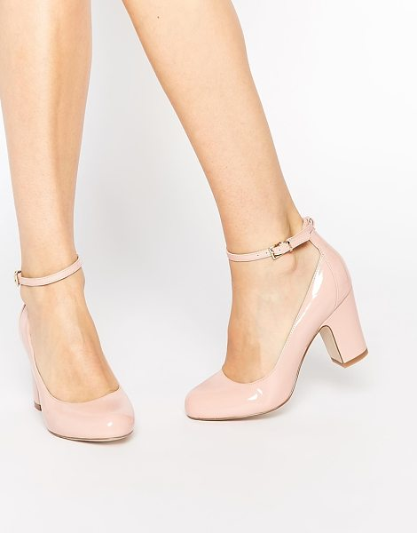 Asos Stamp heels in pink - Heels by ASOS Collection Polished leather Pin buckle...