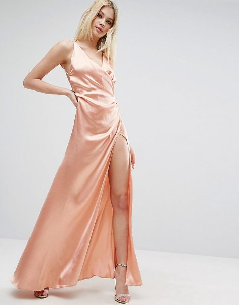 "ASOS Strap Drape Front Thigh Split Maxi Dress - """"Maxi dress by ASOS Collection, Satin-style fabric,..."