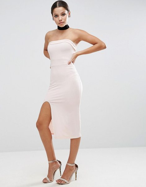 """Asos Strapless Midi Bodycon Dress with Curved Splits in beige - """"""""Dress by ASOS Collection, Smooth stretch fabric,..."""