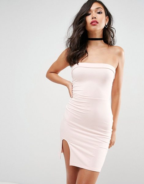 ASOS DESIGN asos strapless mini bodycon dress with curved splits in nude