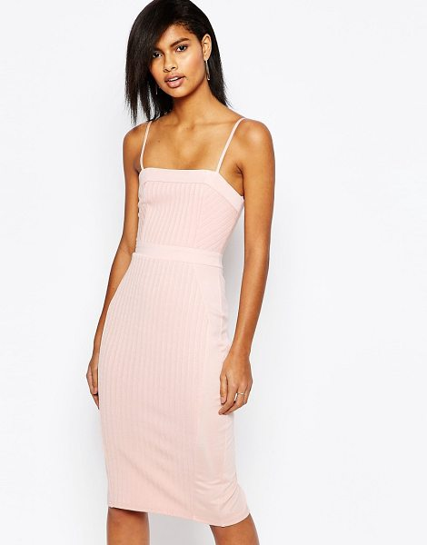 Asos Strappy bandage midi pencil dress in pink - Dress by ASOS Collection, Stretch ribbed knit, Lined...