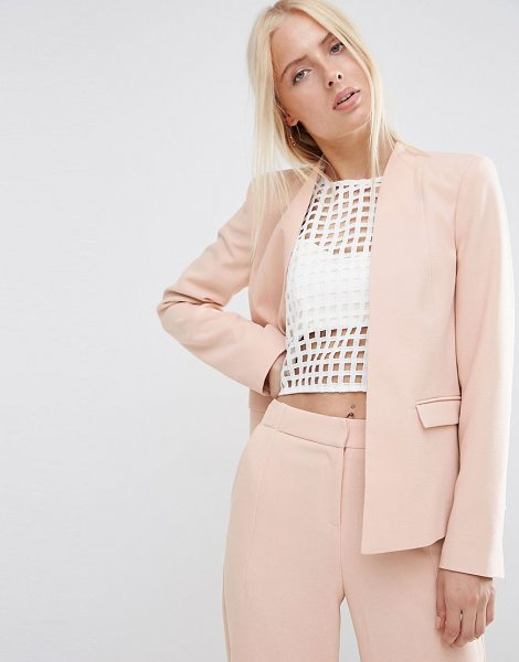 Asos Structured Edge to Edge Blazer in pink - Blazer by ASOS Collection, Textured woven fabric,...