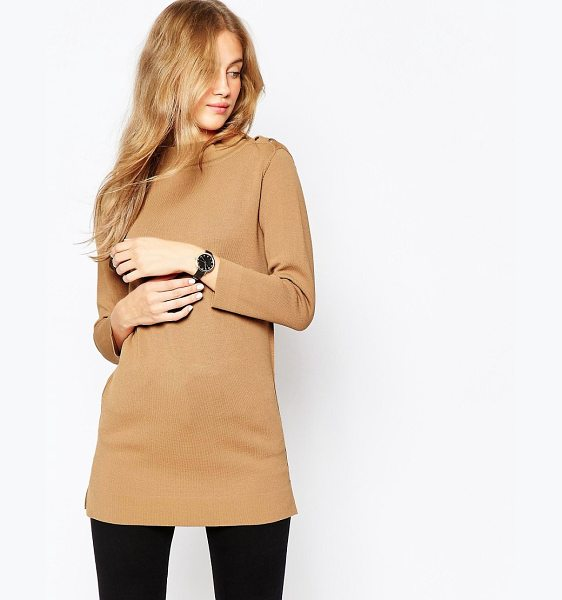 Asos Structured Knit Tunic with Button Up High Neck in brown