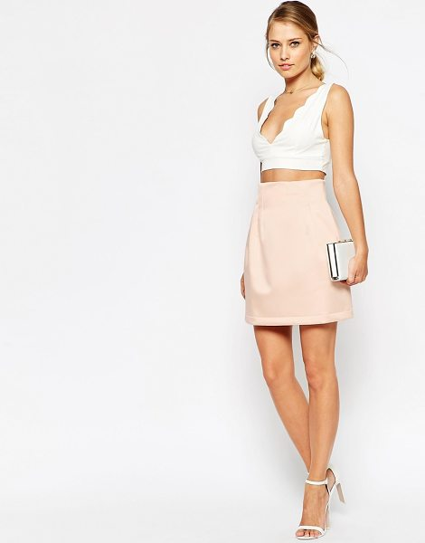 Asos Structured Lantern Skirt in pink - Skirt by ASOS Collection, Thick, satin-feel woven...