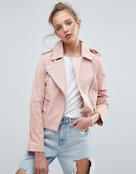 ASOS Suede Biker Jacket in pink - Leather jacket by ASOS Collection, Soft-touch suede,...