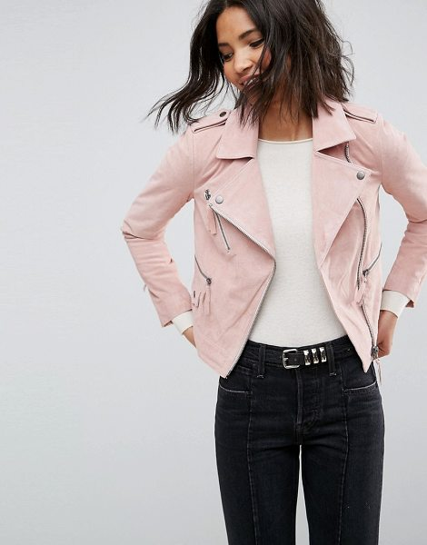 "ASOS DESIGN suede biker jacket in pink - """"Biker jacket by ASOS Collection, Soft suede, Lined..."