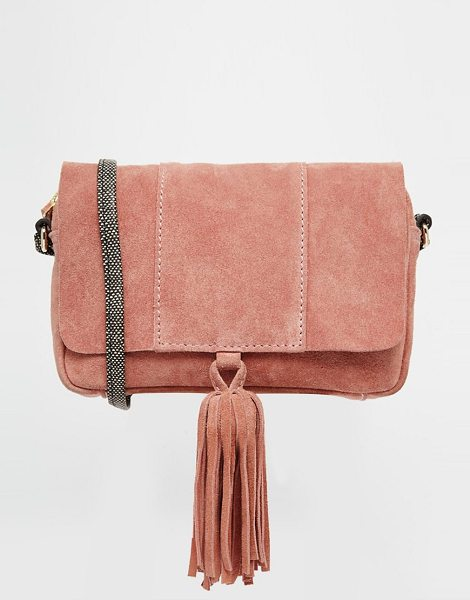 ASOS Suede Cross Body Bag With Snake Strap in pink - Cart by ASOS Collection, Suede outer, Single strap, Flap...
