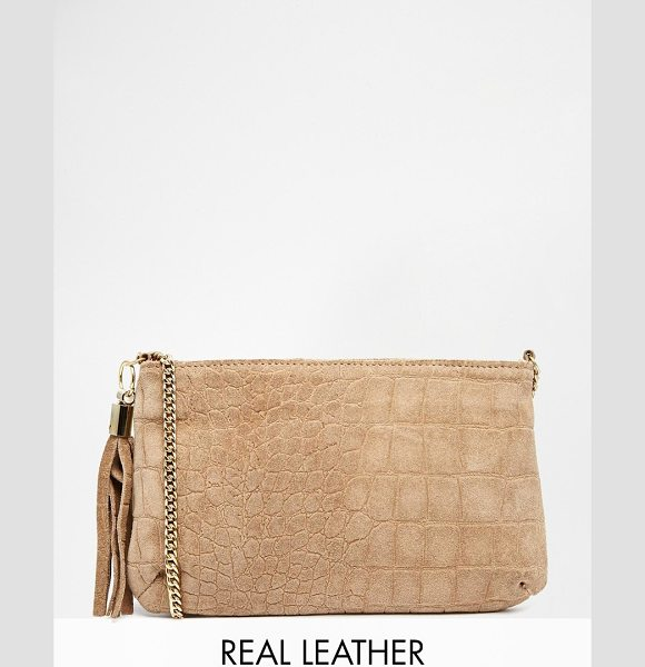 Asos Suede embossed croc cross body bag in mink - Cart by ASOS Collection Embossed suede Zip closure Inner...
