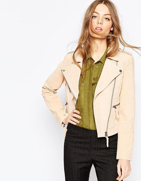 Asos Suede Biker Jacket in stone - Jacket by ASOS Collection, Suede leather, Fully lined,...