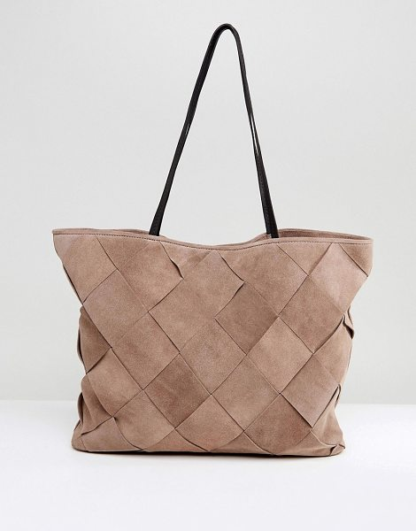 ASOS DESIGN asos suede weave shopper bag in stone - Bag by ASOS Collection, Suede outer, Contrast lining,...