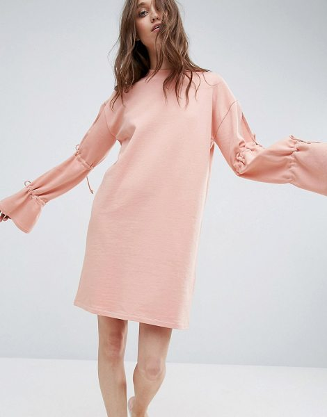 """ASOS DESIGN asos sweat dress with tie sleeve in nude - """"""""Dress by ASOS Collection, Loop-back sweat, High neck,..."""